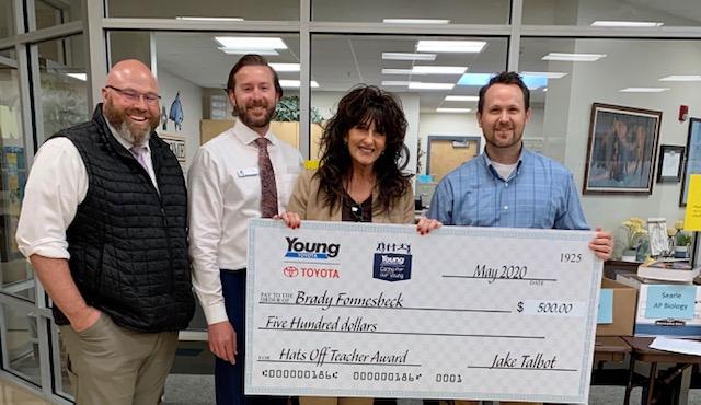 """Cache School District's """"Hats Off Teacher Award"""" recipient Brady Fonnesbeck"""